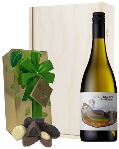 Australian Chardonnay White Wine and Chocolates Gift Set in Wooden Box