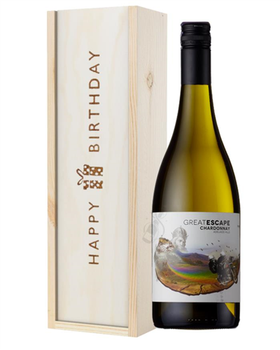 Australian Chardonnay White Wine Birthday Gift In Wooden Box