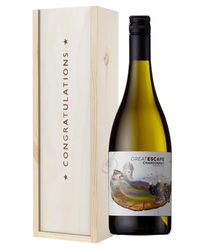Australian Chardonnay White Wine Congratulations Gift In Wooden Box