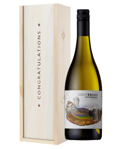 Australian Chardonnay White Wine Congratulations Gift In Wooden Box