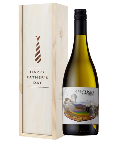 Australian Chardonnay White Wine Fathers Day Gift In Wooden Box