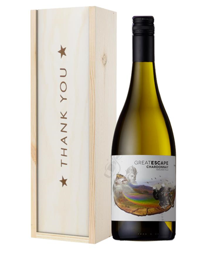 Australian Chardonnay White Wine Thank You Gift In Wooden Box