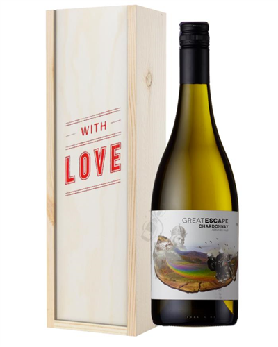 Australian Chardonnay White Wine Valentines With Love Special Gift Box