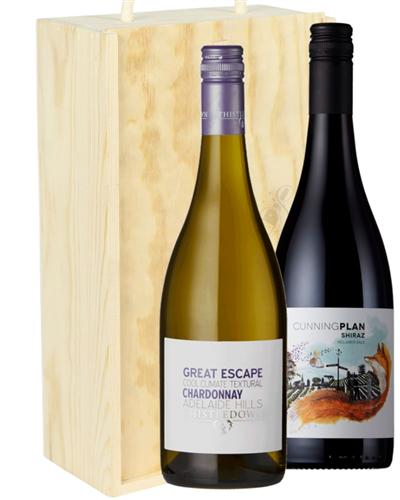 Australian Mixed Two Bottle Wine Gift in Wooden Box