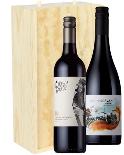 Australian Red Two Bottle Wine Gift in Wooden Box