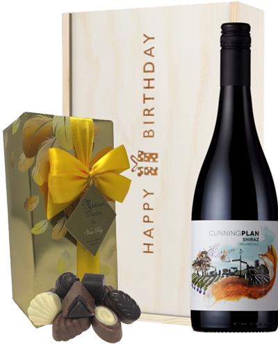 Australian Shiraz Red Wine and Chocolate Birthday Gift Box