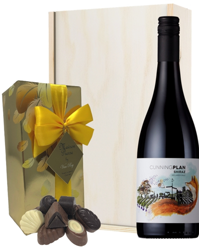 Australian Shiraz Red Wine and Chocolates Gift Set in Wooden Box