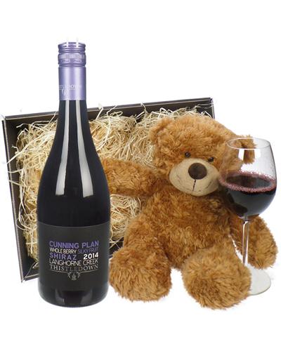 Australian Shiraz Red Wine and Teddy Bear Gift Basket