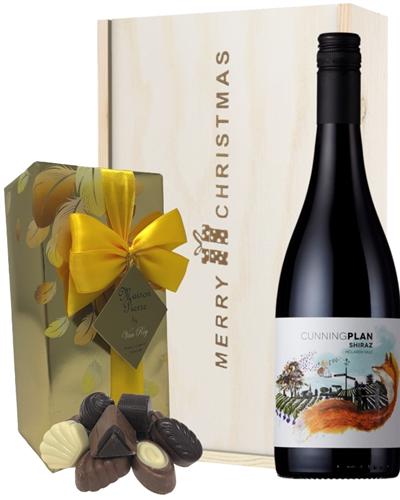 Australian Shiraz Red Wine Christmas Wine and Chocolate Gift Box
