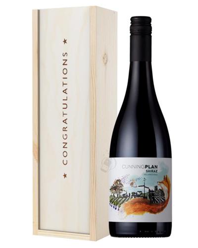 Australian Shiraz Red Wine Congratulations Gift In Wooden Box