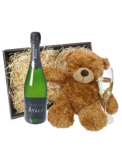 Ayala Champagne and Teddy Bear Gift Basket