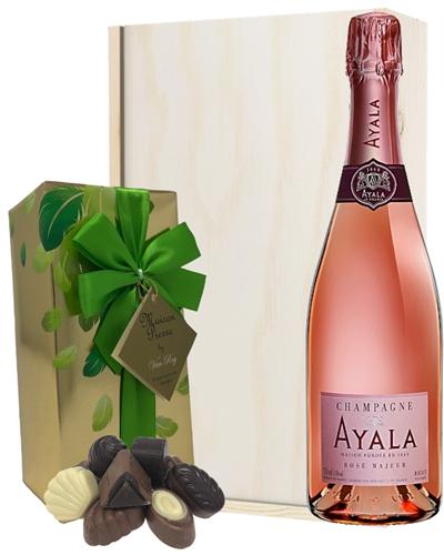 Ayala Rose Champagne & Belgian Chocolates Gift Box