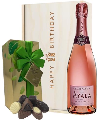 Ayala Rose Champagne and Chocolates Birthday Gift Box