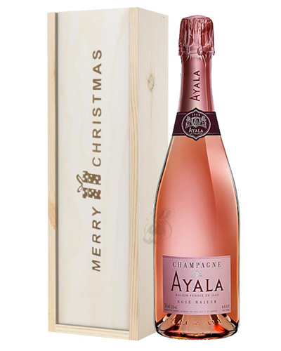 Ayala Rose Champagne Single Bottle Christmas Gift In Wooden Box