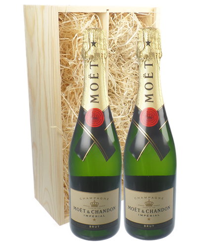 Moet & Chandon Two Bottle Champagne Gift in Wooden Box