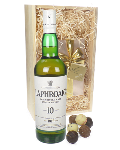 Laphroaig 10 Year Old and Chocolates Gift Set in Wooden Box