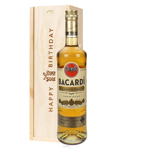 Bacardi Carta Oro Birthday Gift In Wooden Box