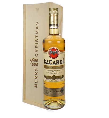 Bacardi Carta Oro Christmas Gift In Wooden Box