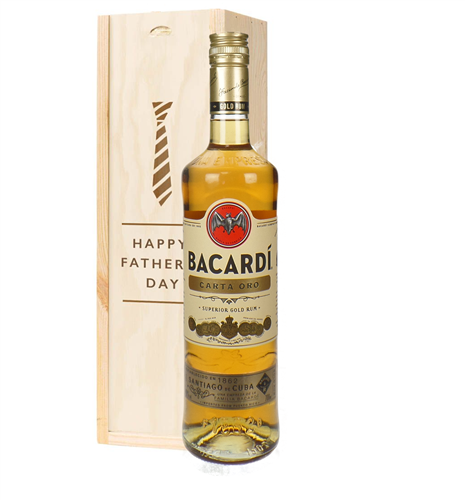 Bacardi Carta Oro Fathers Day Gift In Wooden Box
