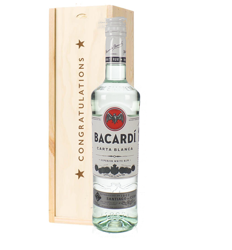 Bacardi Rum Congratulations Gift In Wooden Box