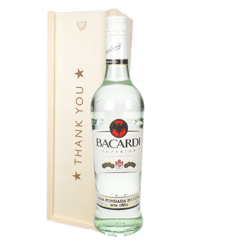 Bacardi Rum Thank You Gift In Wooden Box