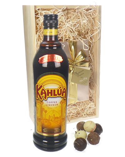Kahlua Liqeuer And Chocolates Gift Set in Wooden Box