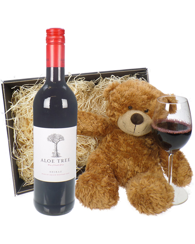 South African Shiraz Red Wine and Teddy Bear Gift Basket