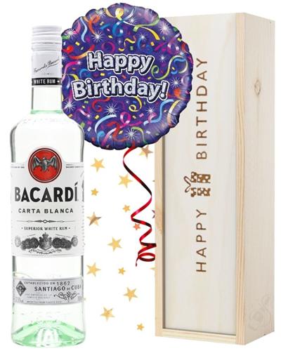 Birthday Bacardi Rum and Balloon Gift