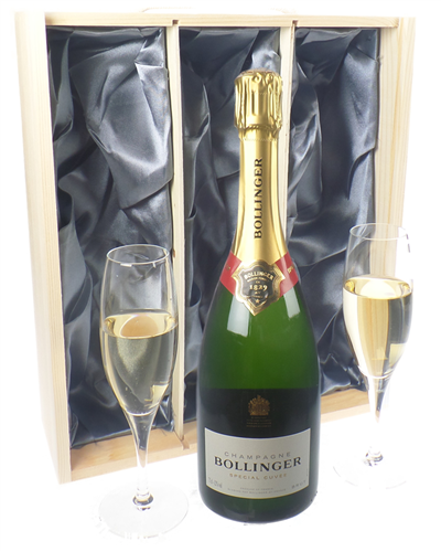 Bollinger Champagne Gift Set With Flute Glasses