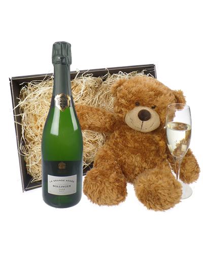 Bollinger Grande Annee Champagne and Teddy Bear Gift Basket