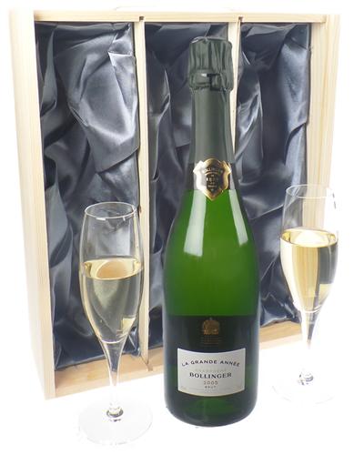 Bollinger Grande Annee Vintage Champagne Gift Set With Flute Glasses