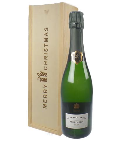 Bollinger Grande Annee Vintage Single Bottle Christmas Gift In Wooden Box