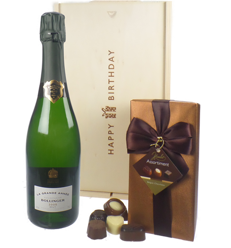 Bollinger Vintage Champagne and Chocolates Birthday Gift Box