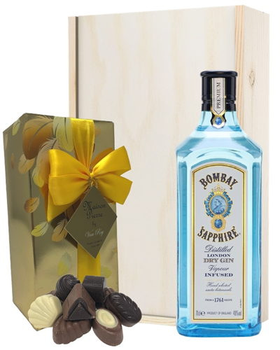 Bombay Gin And Chocolates Gift Set in Wooden Box