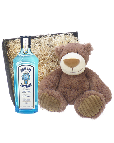 Bombay Gin And Teddy Bear Gift Basket