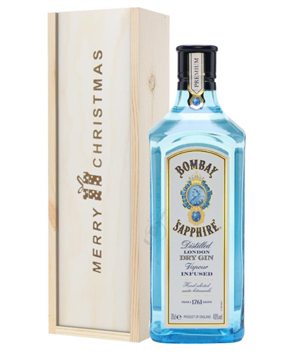 Bombay Sapphire Gin Christmas Gift In Wooden Box