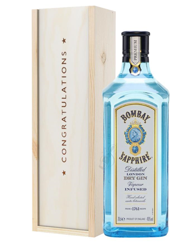 Bombay Sapphire Gin Congratulations Gift In Wooden Box