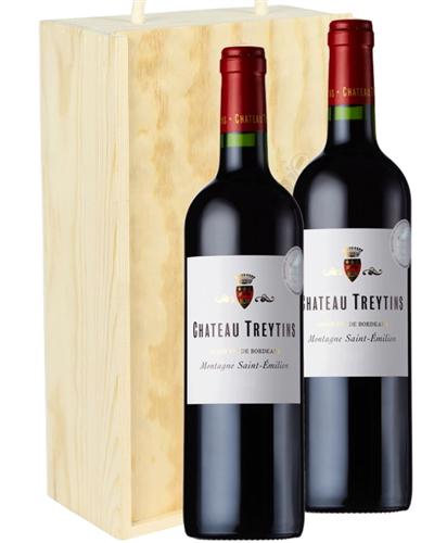 Bordeaux Two Bottle Wine Gift in Wooden Box