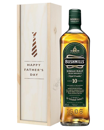Bushmills 10 Single Malt Whiskey Fathers Day Gift In Wooden Box