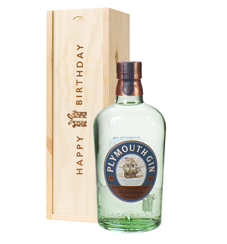 Plymouth Gin Birthday Gift In Wooden Box