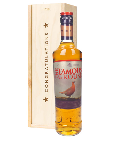 Famous Grouse Whisky Congratulations Gift In Wooden Box
