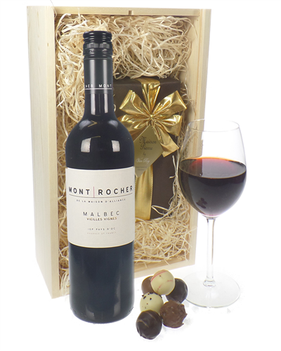 French Malbec Red Wine and Chocolates Gift Set in Wooden Box