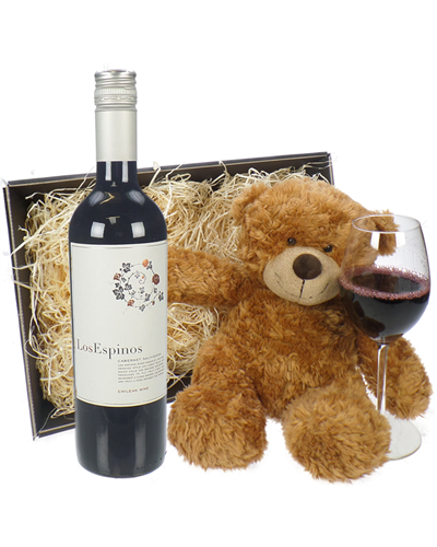 Cabernet Sauvignon Chilean Red Wine and Teddy Bear Gift Basket