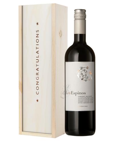 Cabernet Sauvignon Chilean Red Wine Congratulations Gift In Wooden Box