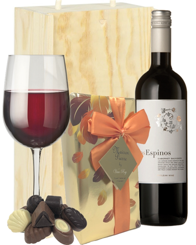 Cabernet Sauvignon Wine and Chocolates Gift Set in Wooden Box