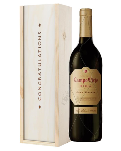 Campo Viejo Gran Reserva Red Wine Congratulations Gift In Wooden Box