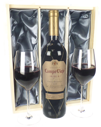 Campo Viejo Gran Reserva Wine and Glasses