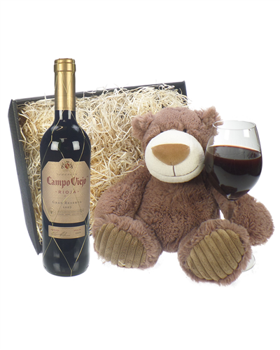 Campo Viejo Gran Reserva Wine and Teddy Bear Gift Basket