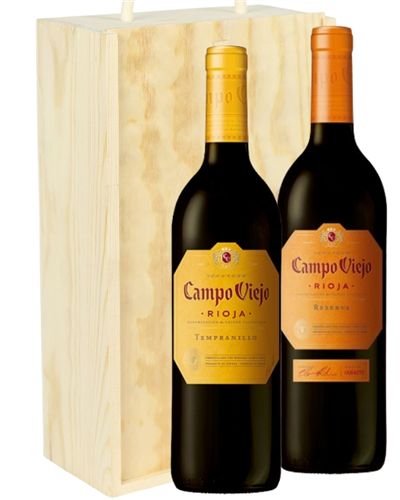 Campo Viejo Mixed Two Bottle Wine Gift in Wooden Box