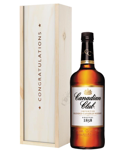 Canadian Club Whisky Congratulations Gift In Wooden Box